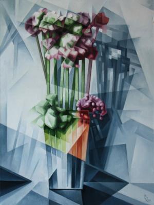 Vasily Krotkov. A vase of flowers. Kubofuturizm