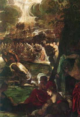 Якопо Тинторетто. Крещение Христа (фрагмент)