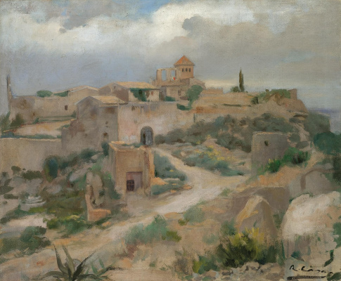 Ramon Casas i Carbó. Landscape with castle Tamarit, Tarragona, Spain