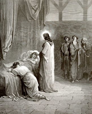 Paul Gustave Dore. Illustration to the Bible: Resurrection of Jairus's daughter
