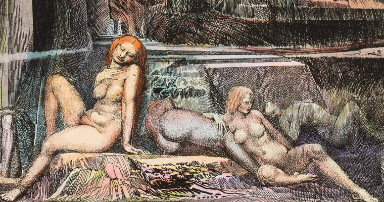 Ernst Fuchs. The temptation of St. Simeon the Stylite. Fragment II