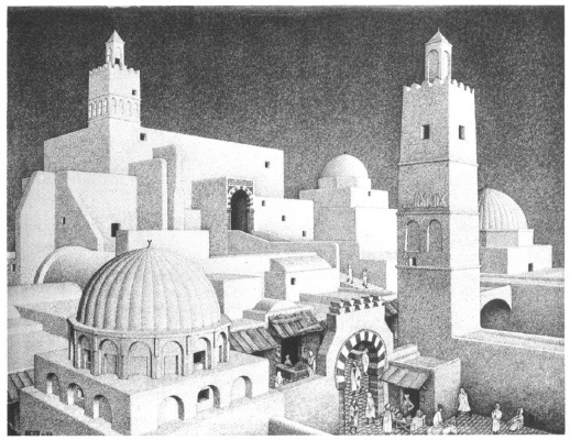 Maurits Cornelis Escher. View of the city Kairouan, Tunisia