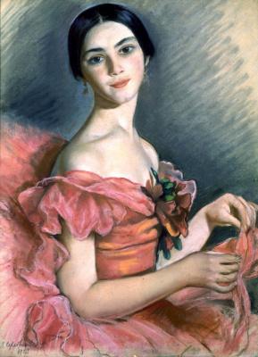 Zinaida Serebryakova. Portrait of a Ballerina E.N. Heidenreich in red