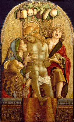 Carlo Crivelli. Crying over the dead Christ