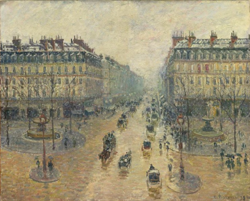 Camille Pissarro. The Avenue De L'Opera, Paris, Sunlight, Winter Morning