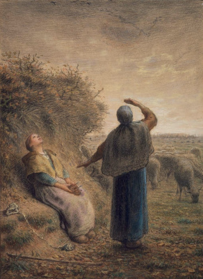 Jean-François Millet. Cowgirls Watching the Flight of the Wild Geese