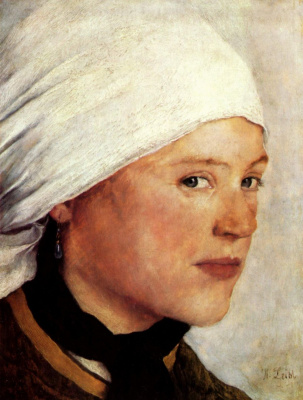 Wilhelm Maria Hubertus Label. A peasant girl in the white scarf