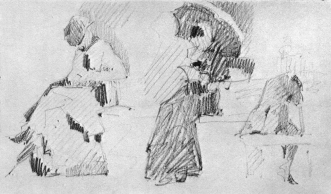 Georges Seurat. Sketch shapes