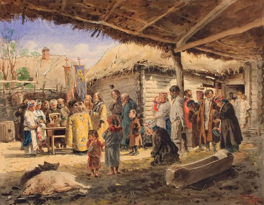 Vladimir Egorovich Makovsky. Prayer in the peasant yard in the Ukraine