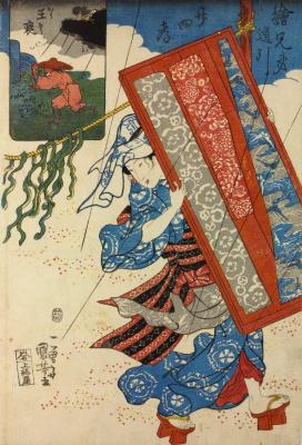 """Утагава Куниёси. Избранные сюжеты серии """"Образец сыновней почтительности"""". Ван Бао бежит к могиле матери во время грозы, чтобы успокоить ее дух"""