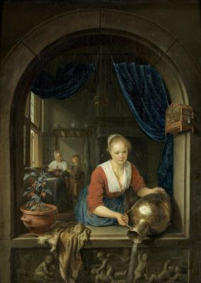 Gerrit (Gerard) Dow. Maidservant at the window