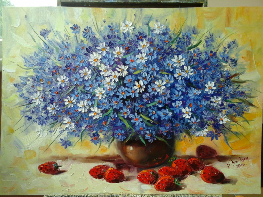 Sergey Burlak. Bouquet with strawberries