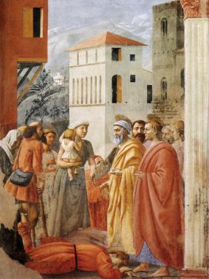 Tommaso Masaccio. Brancacci Chapel. Distribution of Alms and Death to Ananias