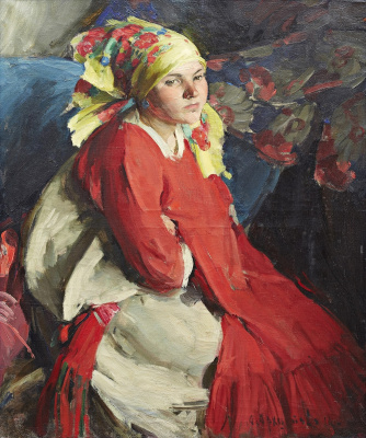 Abram Arkhipov. Peasant girl in a yellow scarf