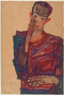 Egon Schiele. Self portrait drawn with age