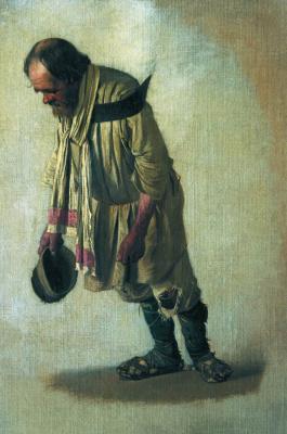 "Vasily Vasilyevich Vereshchagin. Burlak with the cap in his hand. Study for an impossible painting ""burlaki"""