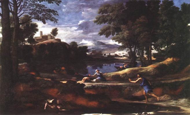 Nicola Poussin. Landscape with a man by ubivayet snake