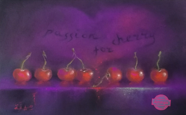 "Amina. Picture still life by dry pastel ""Passion for cherry"""