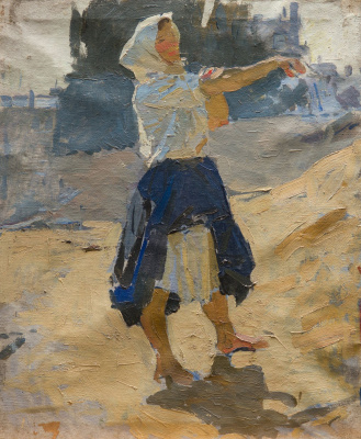 """Tetyana Yablonska. The girl, rolling up my sleeves. Study for the painting """"Bread"""""""