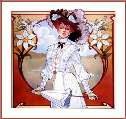 Гари Блэквэлл. Девушка в шляпе и с зонтом