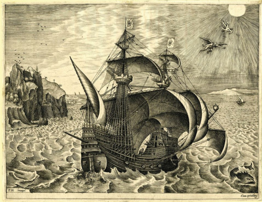 Pieter Bruegel The Elder. Military three-mast ship and scene with Daedalus and Icarus