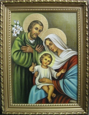 Ядвига Сенько. The Holy Family is the icon of Catholic (oil on canvas)