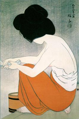 Шинсуи Ито. Купание молодой девушки