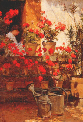 Childe Hassam. Geraniums