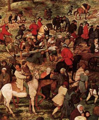 Pieter Bruegel The Elder. The procession to Calvary (carrying the cross). Fragment 6. Christ falls beneath the cross