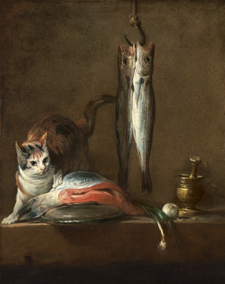 Jean Baptiste Simeon Chardin. Still life with cat on the table and fish