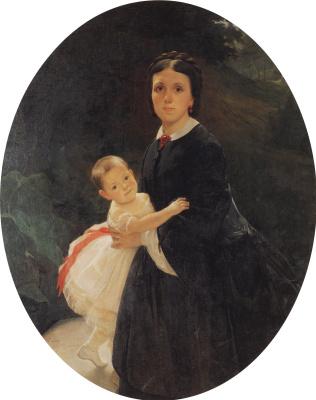 Nikolai Nikolaevich Ge. Portrait of Shestova with daughter