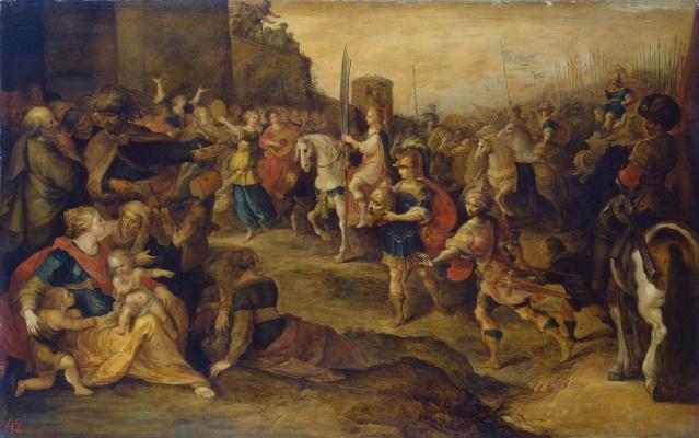 Frans Franken the Younger. David's entry into Jerusalem. 1630s