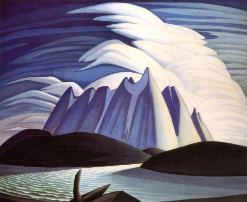 Lauren Harris. The lake and the mountains