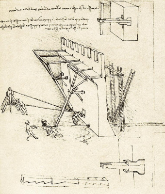 Leonardo da Vinci. Device for pushing away ladders of the enemy