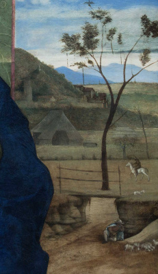 Giovanni Bellini. Madonna and Child (Madonna Brera). A fragment of the landscape