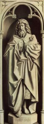 Губерт ван Эйк. Гентский алтарь, алтарь мистического агнца, левая створка внешняя сторона, нижняя внутренняя сцена: св. Иоанн Креститель, имитац