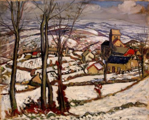 Деревня под снегом в Морване