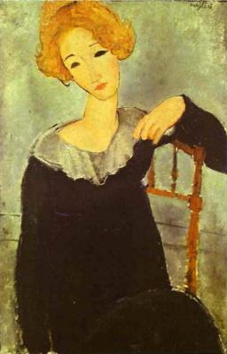 Amedeo Modigliani. Sitting redhead girl in black dress
