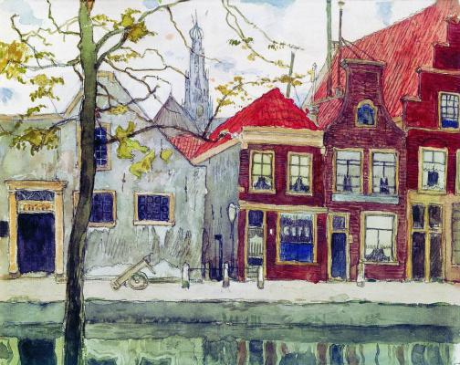 Мстислав Валерьянович Добужинский. Канал. Харлем. 1910
