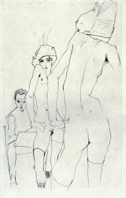 Schiele with model in front of the mirror
