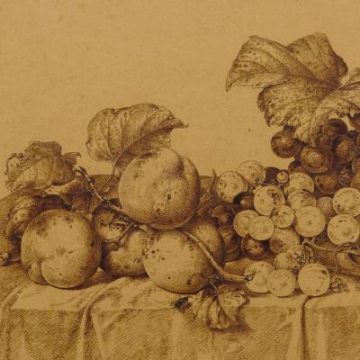 Иоганн Вильгельм Прейер. Натюрморт с фруктами, шампанским и оловянным блюдом. 1877 деталь