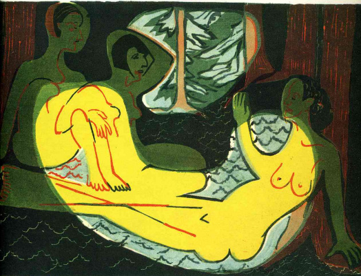 Ernst Ludwig Kirchner. Three naked in the forest