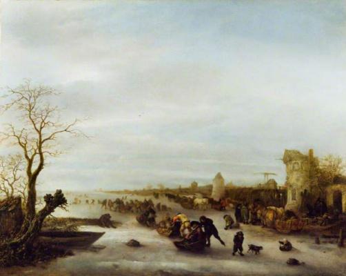 Исаак Янс ван Остаде. Зимняя сцена на замерзшем озере
