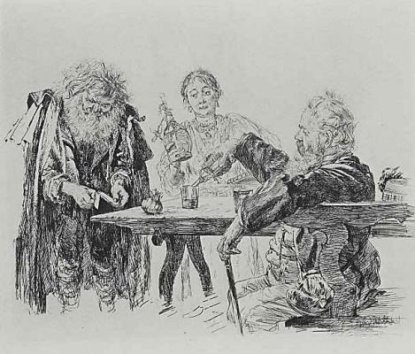 Adolf Friedrich Erdmann von Menzel. Scene in an Italian restaurant