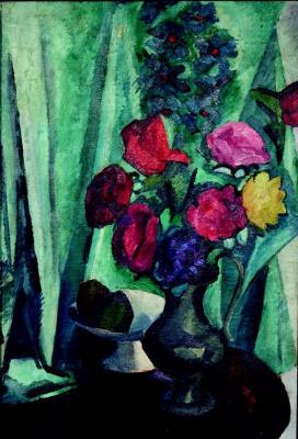 Роберт Рафаилович Фальк. Цветы на зеленом фоне