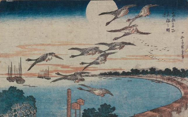 Utagawa Hiroshige. A flock of wild geese and full moon over Takanawa