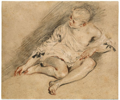 Antoine Watteau. Seated young woman in a shirt