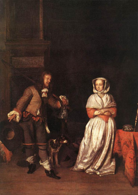 Gabrielle Metsu. The hunter and a woman
