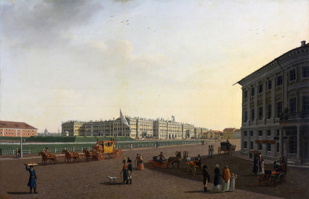 Benjamin Patersen. View of the Palace square and the Winter Palace from Nevsky Prospekt