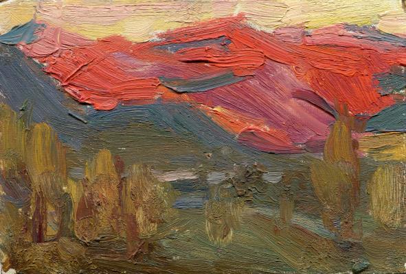 "Vasily Fadeevich Demin. Etude ""Scarlet Sayan Mountains"""